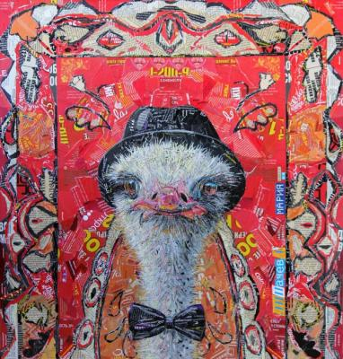 Portrait of an ostrich in the background of a carpet. Lipacheva Maria