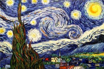 Smorodinov Ruslan. Starry Night. a copy of Van Gogh