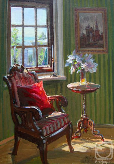 Loukianov Victor. Bay window with a kind on the sea