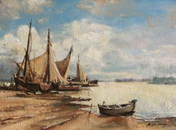 Boats by shore
