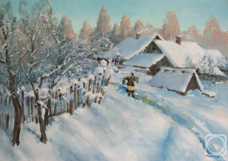 Kremer Mark. Winter morning in village