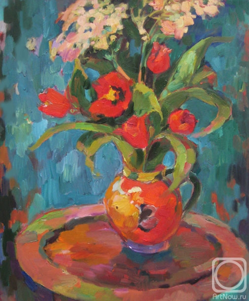 Бочарова Анна. Красные тюльпаны на зелёном
