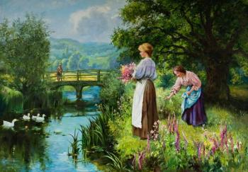 "The copy of a picture of J. King ""Girls at the river"""