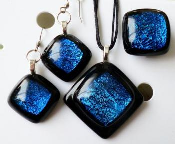 "Set of jewelery ""Invite me to expanse the blue!"" dichroic glass fusing (Fusing Jewelry). Repina Elena"