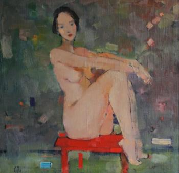 Shcherbakov Igor. Nude on a red chair