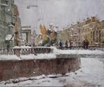 Галимов Азат. В городе снег. Банковский мост. Питер