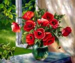 Kogay Zhanna. Poppies on the window