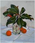 Натюрморт с веткой магнолии и прошлогодними апельсинами. Тарасов Руслан