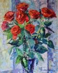 """Картина """"Этюд. Красные розы на подоконнике."""". Пантелеева Елена"""