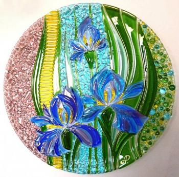 "A great dish for the holiday table ""In the realm of irises"" glass fusing"