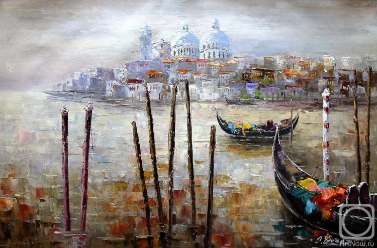 Vevers Christina. Venice. Gondolas on the background of Santa Maria della Salute