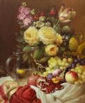 Кувшин, розы и гранат