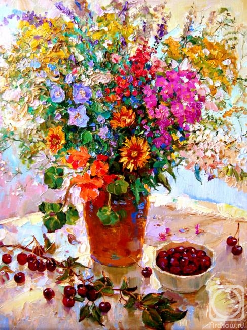 Мишагин Андрей. Натюрморт с веточкой вишни