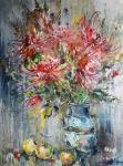Чарина Анна. Красные хризантемы