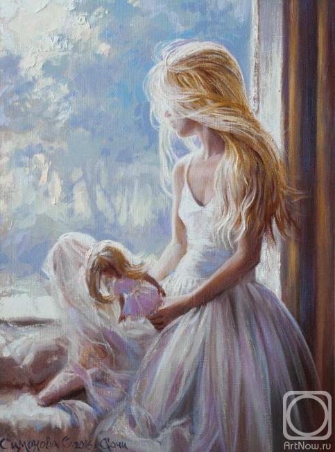 Симонова Ольга. Девочка с куклой у окна