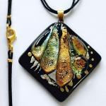 "Dichroic glass pendant ""Golden Autumn"" glass fusing. Repina Elena"