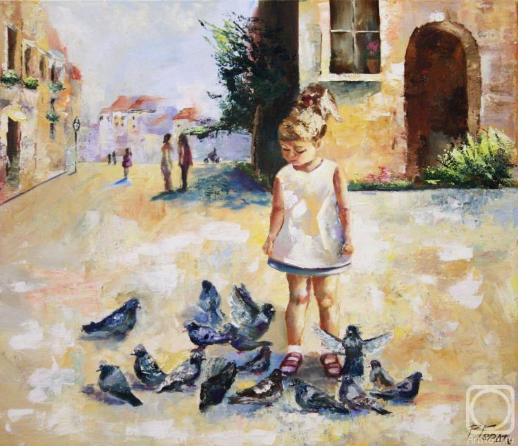 Картина маслом на холсте. Гердт Ирина. Девочка и голуби