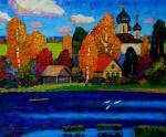 Золотая осень на реке. Бердышев Игорь