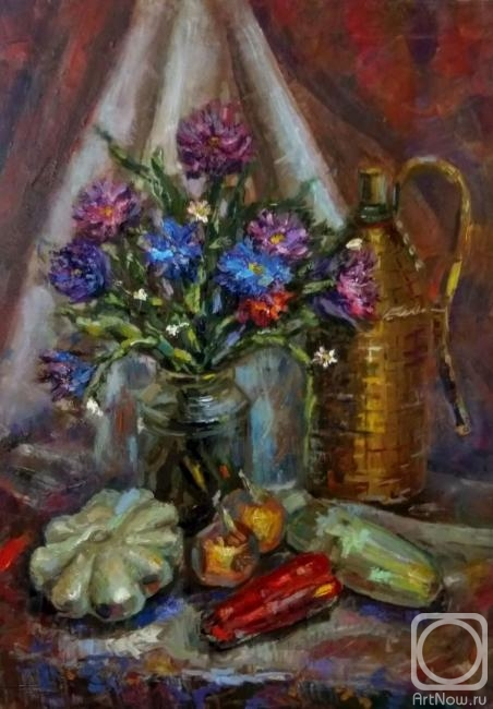 Silaeva Nina. Still life with flowers and vegetables