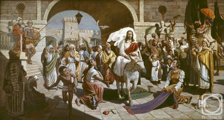 Картина маслом на холсте. Лукьянов Виктор. Вход Господень в Иерусалим