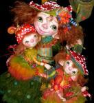 Дроздова Маргарита. Дочки-матери (фрагмент) Яркая семья мухоморов в сказочном лесу с лягушкой, мухами и улиткой