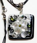 "Dichroic glass pendant ""Snow White"" glass fusing"