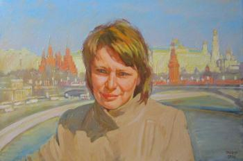 Irina on the Patriarchal Bridge from a photo (Moscow Patriarchal). Dobrovolskaya Gayane