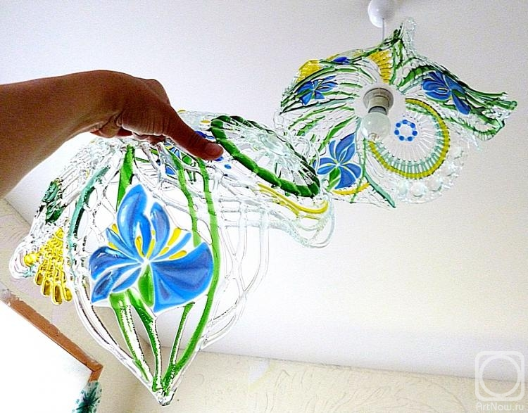 "Repina Elena. Openwork lampshade for a ceiling ""Irises"" glass fusing"