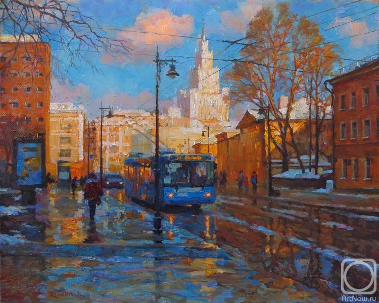 Волков Сергей. Синий троллейбус на Мясницкой