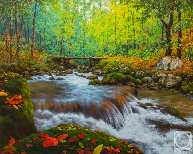 Потас Олег. Осенние листья у быстрой реки