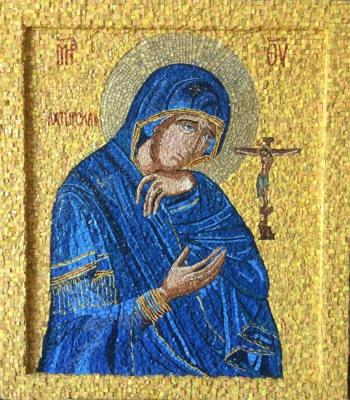 Akhtyrskaya Mother of God orthodox icon (mosaic). Izmailova Natalia