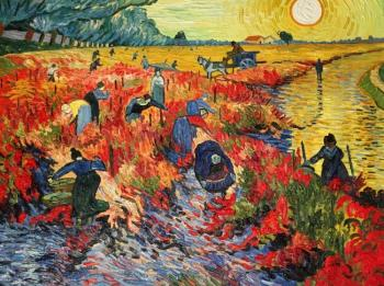 Bruno Augusto. The Red Vineyard. a copy of Van Gogh