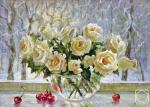 """Картина """"Розы на зимнем окне."""". Куликов Дмитрий"""