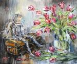 Натюрморт с тюльпанами и куклой