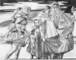 Симаков Андрей. Переходят реку. Рисунок