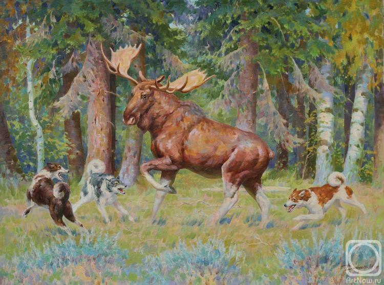 Охота на лося в картинах художников