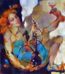 """Картина """"Она курит кальян и пьёт розовую воду"""". Налётова Ольга"""