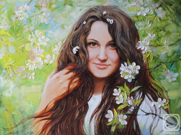 Симонова Ольга. Портрет девушки в весеннем саду