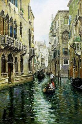 A copy of the picture Rubens Santoro. Family picnic on the Venetian canal. Romm Alexandr