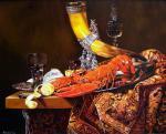 Кабатова Надежда. Натюрморт с рогом гильдии стрелков св. Себастьяна, омаром и стаканами