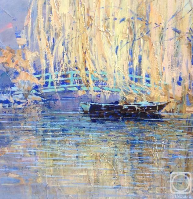 Комарова Елена. Ива, мостик и лодка