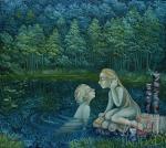 """Картина """"Лесное озеро"""". Ильина Надежда"""
