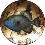 Декоративная тарелка Синяя Рыба