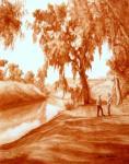 """Картина """"Встреча на берегу реки Яркон"""". Бухина Майя"""