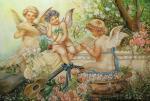 Kolbina Marina. Copy of a picture. Hans Zatzka. Cupids.