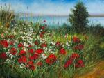 Generalov Eugene. Summer meadow. Poppies and chamomiles