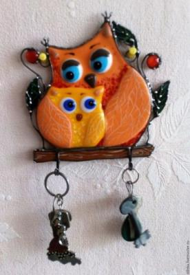 "Stained glass key hanger ""Owls"". Zhilina Olga"