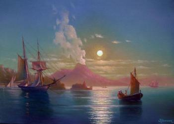 Neapolitan Bay in lunar night (Lunar Landscape). Kulagin Oleg