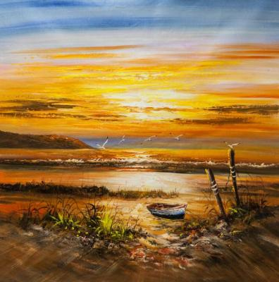 Vevers Christina. Boat on the shore at red sunset
