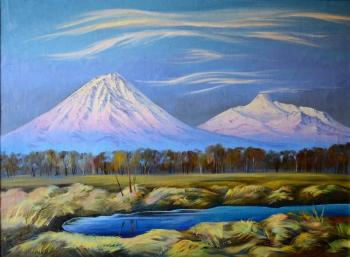 Autumn landscape with view of the volcanoes. Stepanov Pavel